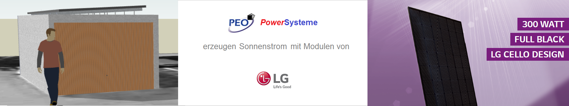 PowerSystem HOMEline für Garage mit Flachdach & Modulen von LG