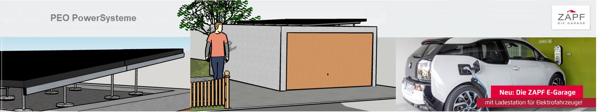 PEO PowerSystem für Zapf E-Garage mit Flachdach & Ladestation