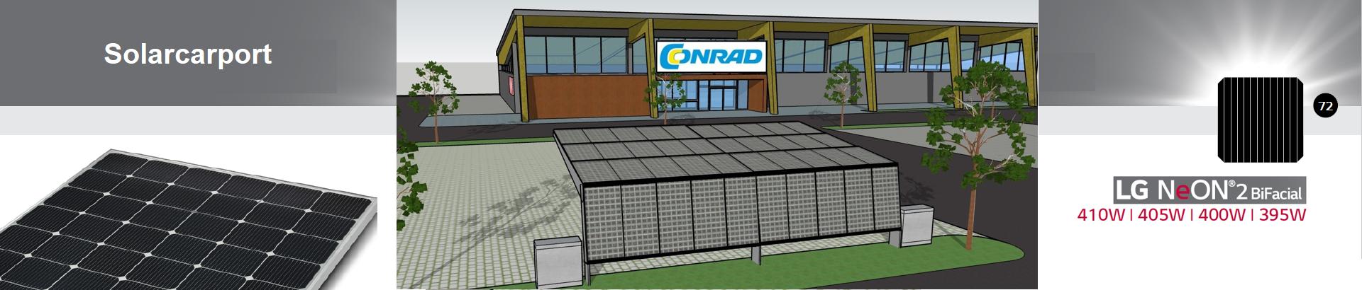 Solarcarport for four 10-40 mit Ladestation