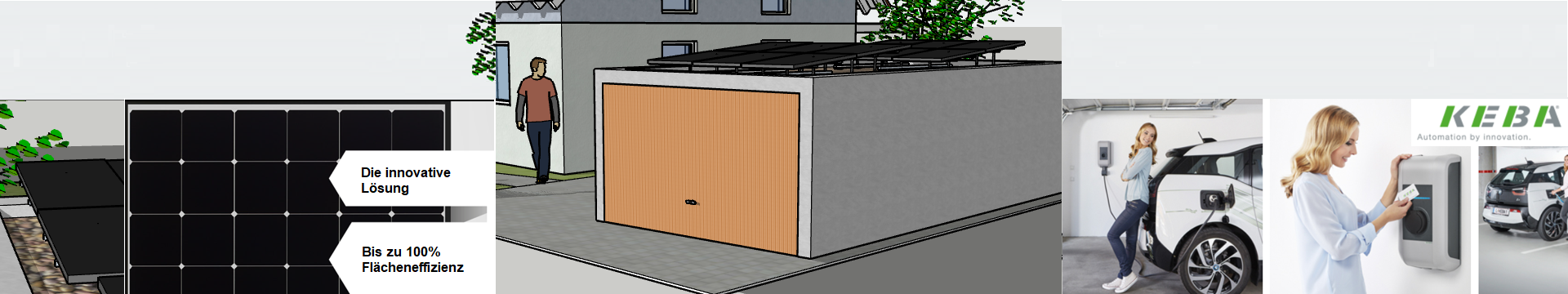 Garage mit Flachdach & KEBA Wallbox