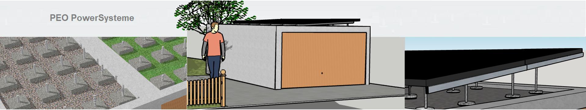 Garage mit Flachdach & Modulen von Sharp